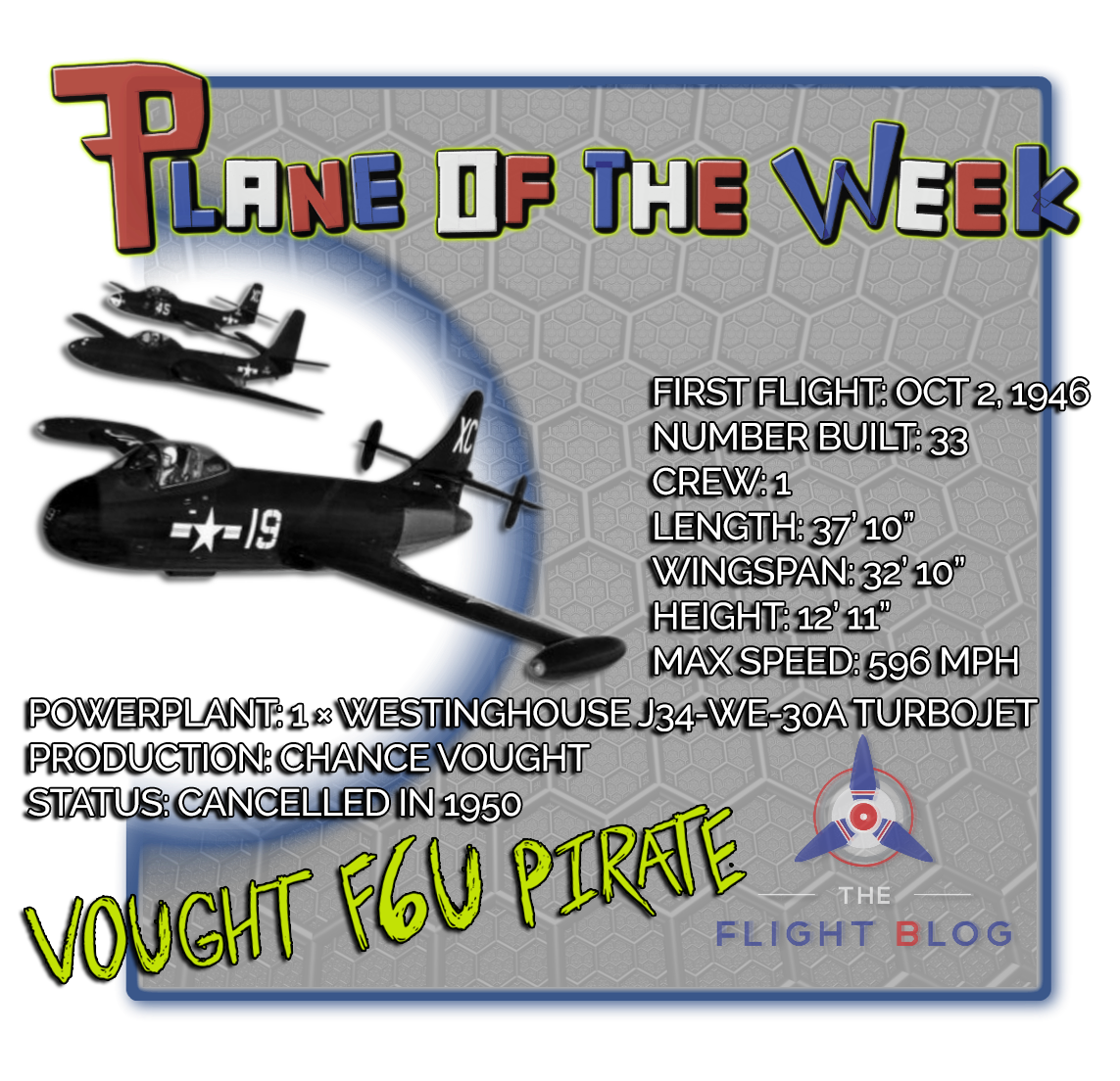 vought f6u, plane of the week, F6U pirate
